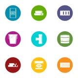 Adhesive icons set, flat style. Adhesive icons set. Flat set of 9 adhesive vector icons for web isolated on white background Stock Photo