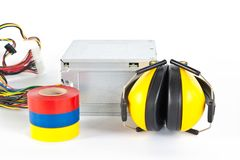 Adhesive insulating tapes are isolated on a white Stock Image