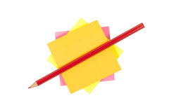 Adhesive label and pencil Royalty Free Stock Photography