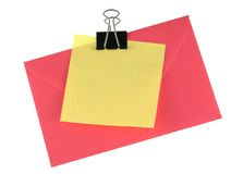 Adhesive note and envelope Royalty Free Stock Photography