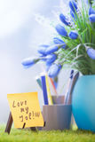 Adhesive note with Love my job text Stock Image