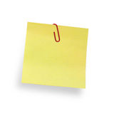 Adhesive note with paper clip Stock Photo