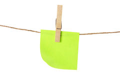 Adhesive Note Paper on Clothes Line Royalty Free Stock Photo