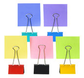Adhesive Note Papers and Paper Clips Royalty Free Stock Image