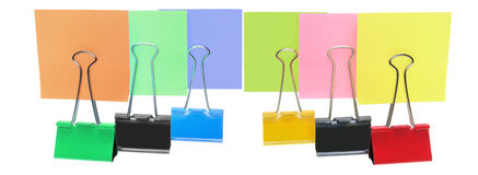 Adhesive Note Papers and Paper Clips Royalty Free Stock Photos