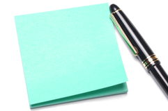 Adhesive note and pen Royalty Free Stock Photo