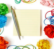 Adhesive note and pen Royalty Free Stock Photos