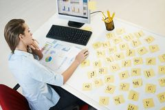 Adhesive notes. Tired business woman with adhesive notes on table. High angle view stock photography
