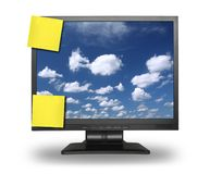 Adhesive notes on lcd with sky Stock Image
