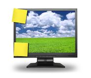 Adhesive Notes On Lcd Stock Image