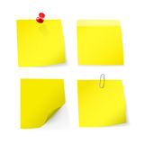 Adhesive notes with pin, clip Stock Photography