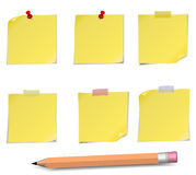 Adhesive Notes with pin, scotch and pensil Stock Photography