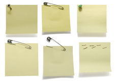 Adhesive Notes. Six post its on white with drop shadow Royalty Free Stock Images