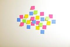Adhesive notes on wall Stock Photos