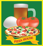 Adhesive and pizza ingredients Stock Photo