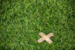 Adhesive plasters sticked to green grass Royalty Free Stock Photos