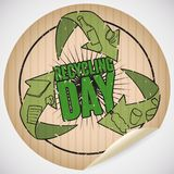 Rounded Cardboard Sticker with Arrows and Doodles for Recycling Day, Vector Illustration. Adhesive sticker made out of recycled paper with arrows reminding at Stock Images