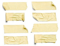 Adhesive tape. Collection of various adhesive tape pieces on white background. each one is shot separately stock photo