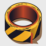 Adhesive tape in black and yellow stripes Stock Photos