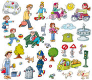 stickers, icons with city elements stock illustration