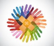 Adhezyjni bandaże nad różnorodność ręk okręgiem ilustracja wektor