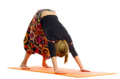 Adho mukha shvanasana , a position in Yoga, is also called  downward facing dog Stock Photography
