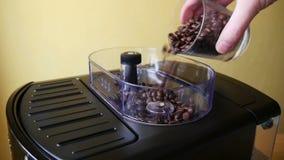 Adição de feijões de café Roasted à máquina do café vídeos de arquivo