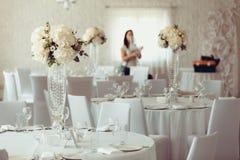 Adição do banquete do casamento da decoração da flor Fotografia de Stock