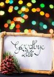 Adiós 2016 con el bokeh colorido de la estrella Fotos de archivo libres de regalías