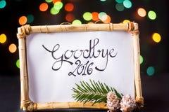 Adiós 2016 con el bokeh colorido de la estrella Fotografía de archivo