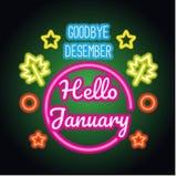 Adiós muestra del texto de la primavera de diciembre hola enero con el marco, vector ilustración del vector