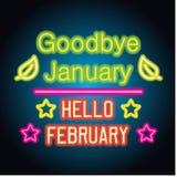 Adiós muestra del texto de la primavera de enero hola febrero con el marco, vector libre illustration