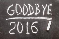 ADIÓS texto 2016 escrito en la pizarra Fotos de archivo