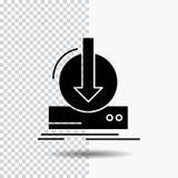 Adición, contenido, dlc, transferencia directa, icono del Glyph del juego en fondo transparente Icono negro stock de ilustración