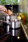 Adición de la pimienta a la comida Imagen de archivo