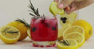 Adición de la rebanada del limón, romero en un vidrio con el cóctel rojo de la limonada de la soda almacen de video