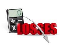 Adición de todas las pérdidas en una calculadora. Fotografía de archivo libre de regalías