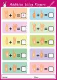 Adición usando los fingeres, hoja de trabajo de la matemáticas para los niños Fotografía de archivo