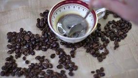 Adicionando o açúcar em um copo do café fresco do café video estoque