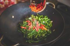 Adicionando a pimenta vermelha cortada em espinafres da água fritar mexendo, feche acima imagem de stock royalty free