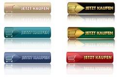 JETZT KAUFEN - o grupo de Web alemão abotoa-se ilustração stock