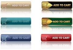 Adicione ao carro - grupo de botões da Web Fotos de Stock