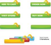 Adicione ao carro, requisite, compre agora & visite teclas da loja Imagens de Stock