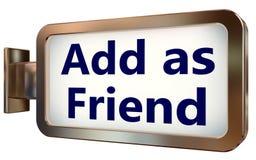 Adicione como o amigo no fundo do quadro de avisos ilustração stock