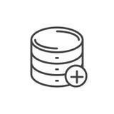 Adicione a linha ícone do base de dados, sinal do vetor do esboço, pictograma linear do estilo isolado no branco Símbolo, ilustra Imagens de Stock