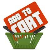 Adicione para cart o texto 3d e a cesta Fotografia de Stock Royalty Free