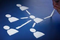 Adicto social al establecimiento de una red Imagen de archivo