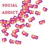 Adicto social Medios iconos sociales en fondo abstracto de la forma con el contador de la pendiente Adicto social stock de ilustración