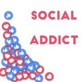Adicto social Medios iconos sociales en fondo abstracto de la forma con los pulgares dispersados para arriba y los corazones stock de ilustración