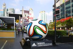 The Adidas Brazuca ball. Bangkok. The Adidas Brazuca ball at Rama I road. Bangkok, Thailand Stock Images